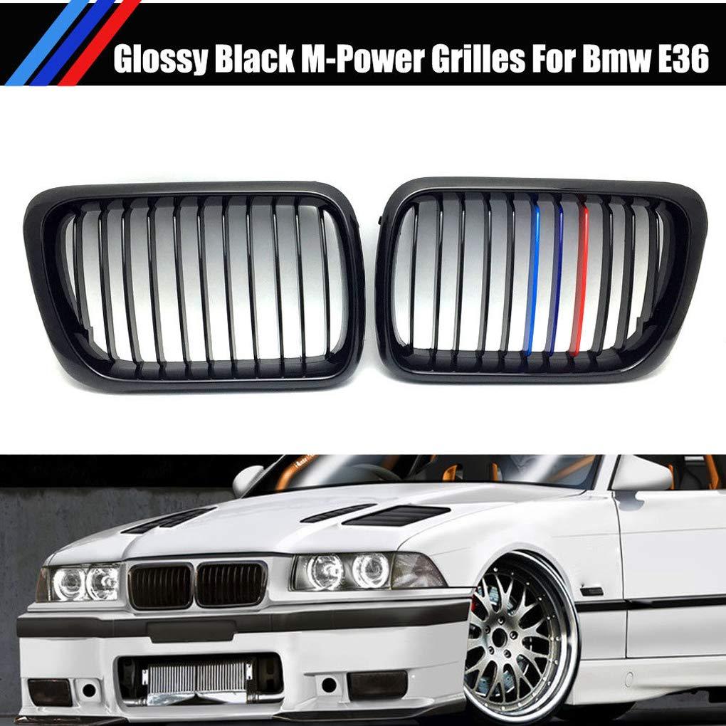 Hotaluyt 1 Paio Gloss Black Anteriore M Style Kidney Grille Griglia per BMW E36 M3 Serie 3 97-99