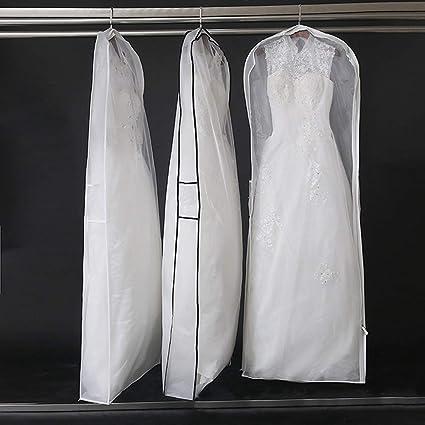 """eafefab33b75 63"""" Long Dustproof White Wedding Gown Dress/Coat Garment Bag with Gusset  for Bride 22.8""""Wx5.9""""Hx63""""L (HZC175)"""