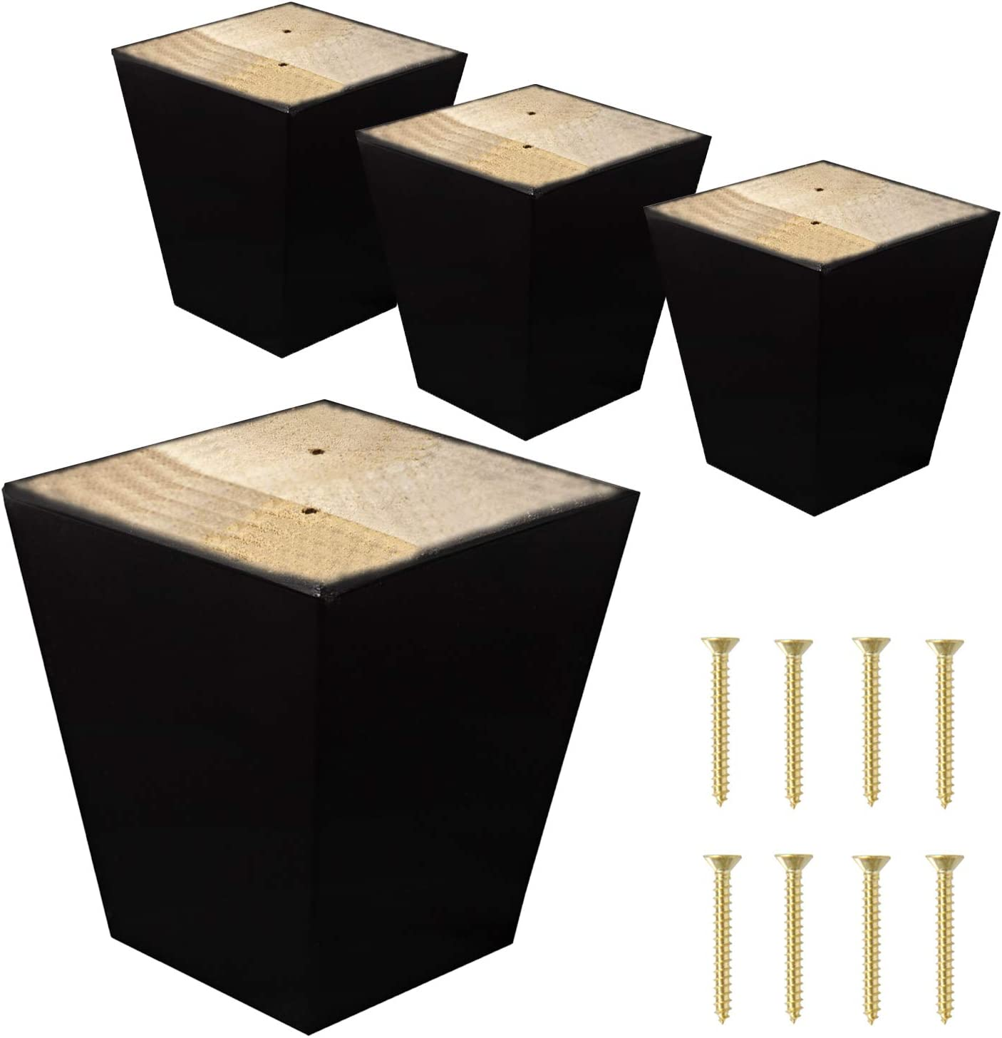 "ComfortStyle Legs for Furniture, Sofa Ottoman and Chair 4"" Wood Feet Replacement, Set of 4 Square Tapered Pyramid Feet (Dark Espresso)"
