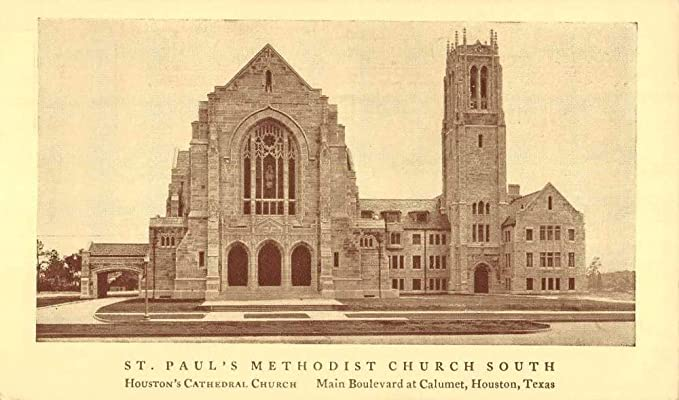 Houston Texas St Pauls Methodist Church Street View Antique Postcard