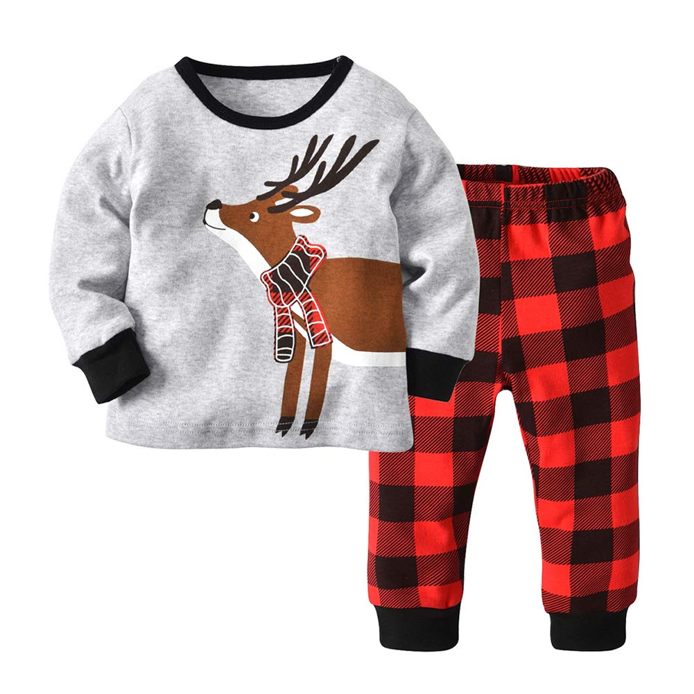 chinatera Kids Pajamas Set Pjs Cotton Christmas Elk Print Sleepwear Homewear Long Sleeve Tops Shirt Pants Clothes Set