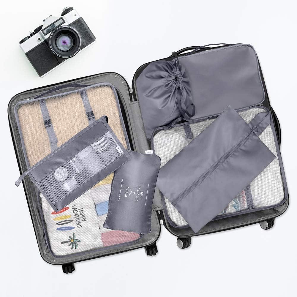 Valise Organizer Set 8 pi/èces Sacs de v/êtement de voyage Organisateur de voyage Cubes demballage Sac de rangement Sacs de v/êtement Set Organisateur de bagages pour v/êtements Sac /à chaussures cosm/étiq