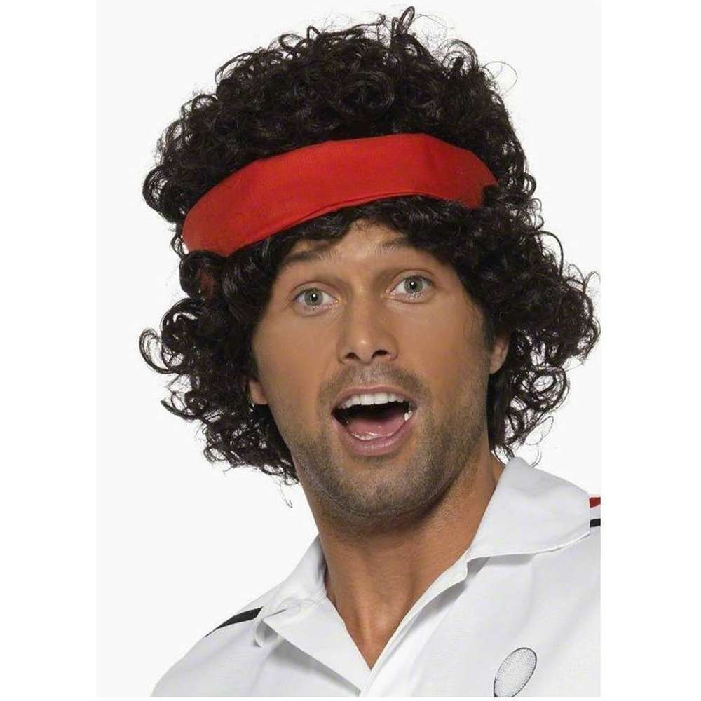 John McEnroe Eighties Tennis Player Wig with Headband - you cannot be serious? Erm, yes we are!