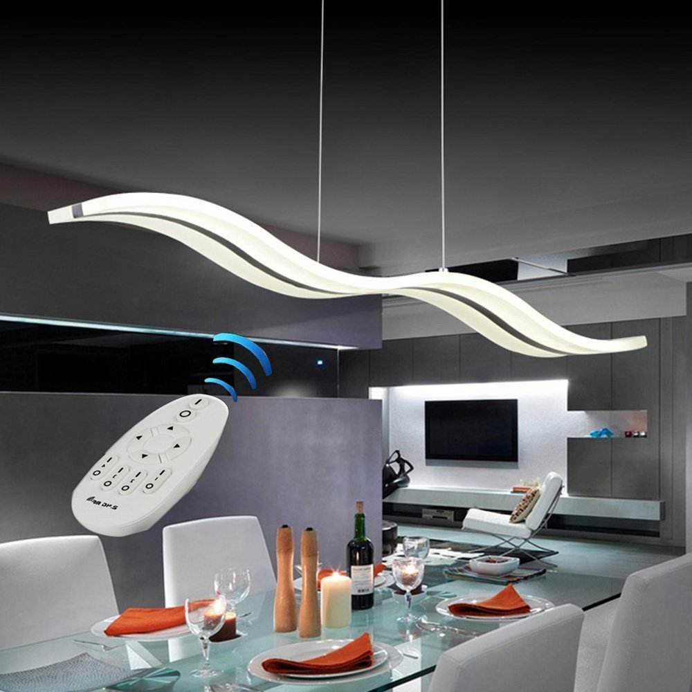 Vi-xixi LED Pendelleuchte Dimmbar Moderne Kronleuchter Deckenleuchten Höhenverstellbar Fernbedienung für Esszimmer Wohnzimmer, Wellenform, 3 Farben Weißes Licht + Warme Licht + Natürliche Licht