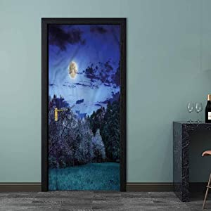 Door Sticker Nature, Night Sky with Forest Meadow Removable Stickers Fireplace Kitchen Backsplash 23.6 x 78.7 Inch