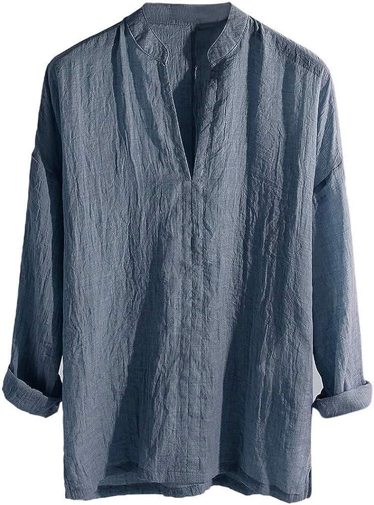 Overdose Camisas Informales para Hombres de Lino de Manga Larga Transpirable Sueltas de Color sólido con Cuello en V Cuello Alto Blusa Holgada: Amazon.es: Ropa y accesorios