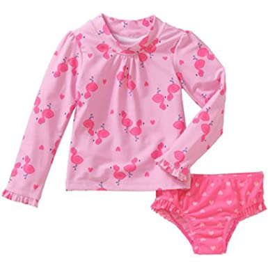 5489e54a6 Child of Mine by Carters Baby Toddler Girls 2 Piece Long Sleeve Rash Guard  Swim Set