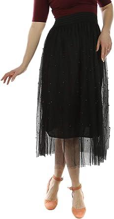 Miss - Falda larga negra de tul, perlas Negro M/L: Amazon.es: Ropa ...
