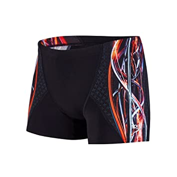 b33428de22 Speedo Men Placement Digital V Aquashort Swimwear - Black/Orange, Size 30