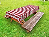 Ambesonne USA Outdoor Tablecloth, Patriotic Pattern Love My Country Continent American Federal Freedom Image, Decorative Washable Picnic Table Cloth, 58 X 120 Inches, Coconut Navy Blue Red