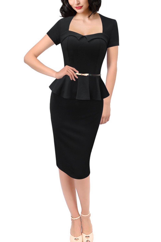Zilcremo Women Vintage Bodycon Dress Polka Dot Midi Party Peplum Dresses Black L
