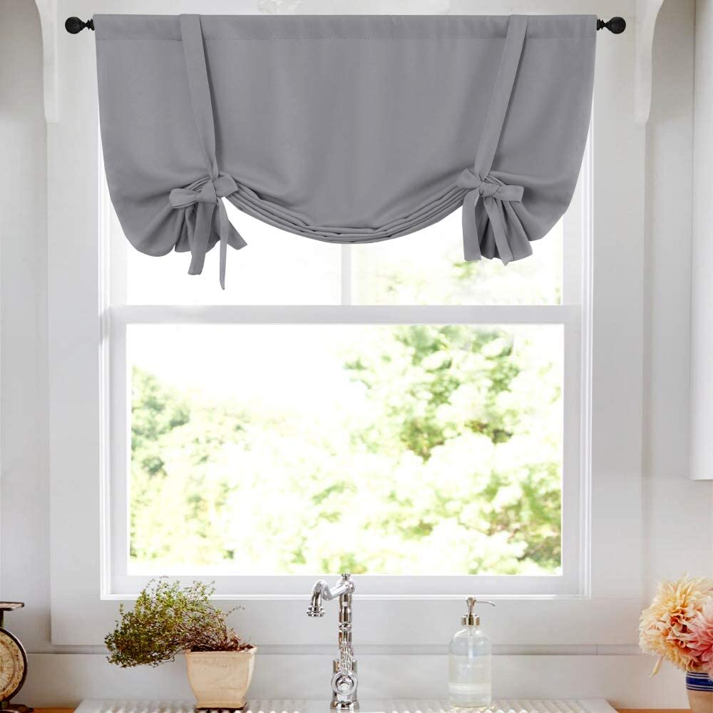 Tie Up Tier Curtain Grey Kitchen Curtains Room Darkening Tie Up Curtain 45 Inch Tie Up Shade Rod Pocket Adjustable Balloon Window Shades 1 Panel Amazon Co Uk Kitchen Home