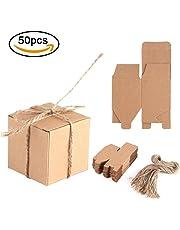Haofy 50 Piezas Bolsas de Regalo, Cajas de Papel Kraft Cajas de Dulces de Regalo