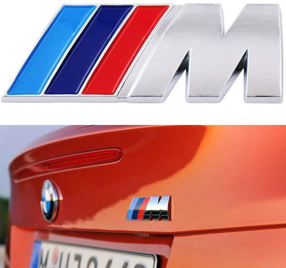silver wesport BMW M Power Badge Tri Color Rear Emblem Car Decal Logo Sticker,for BMW 1 3 5 7 Series E30 E36 E46 E34 E39 E60 E65 E38 X1 X3 X5 X6 Z3 Z4