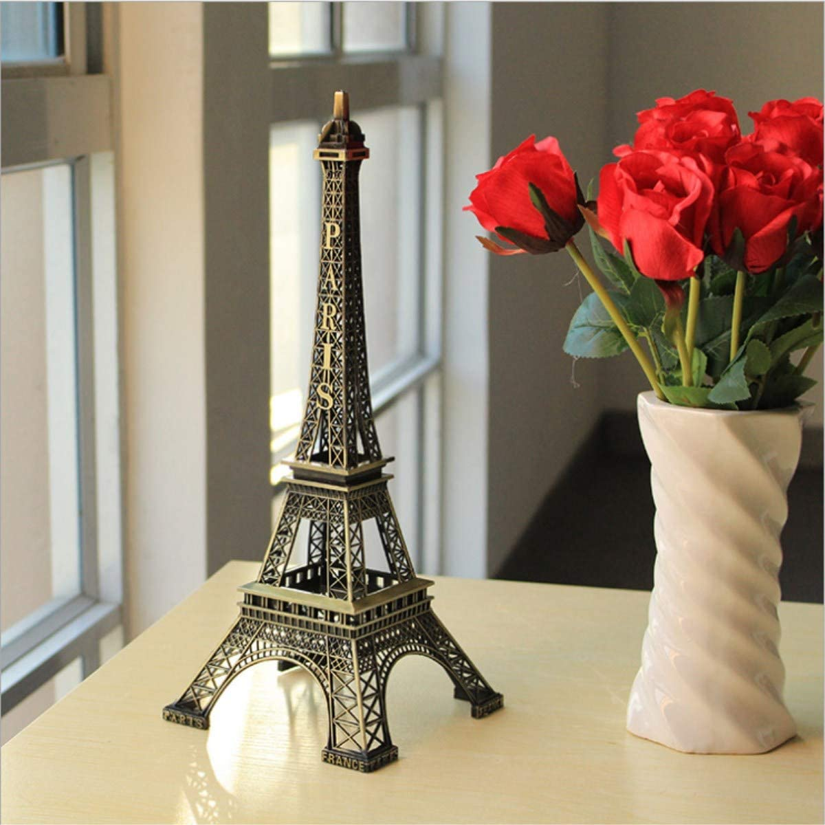 Eiffel Tower Paris France Metal Stand Statue Model for Home Decor or Wedding Theme (12.5 Inches)