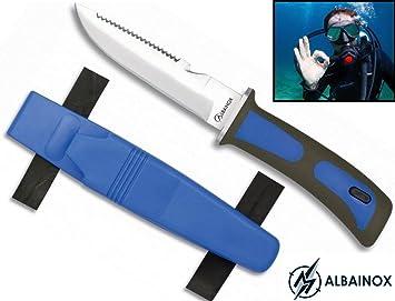 Albainox 31333-AZ Cuchillo submarinismo, Unisex Adulto, Talla Única, Azul
