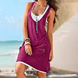 TnaIolral Ladies Dresses O-Neck Pocket Boho