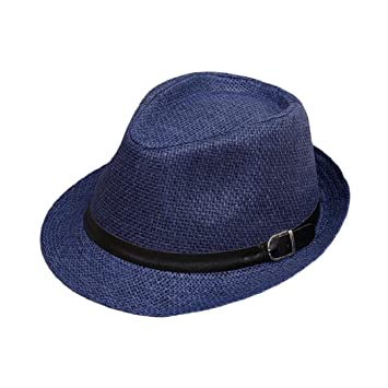 144ac811f4512 ShenPourtor Men Women s Summer Panama Style Trilby Fedora Straw Sun Hat  with Leather Belt (