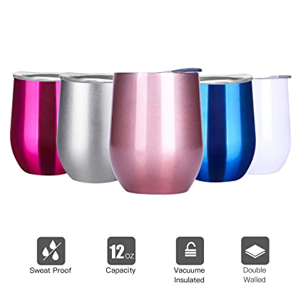 e1102bec852 Wine Tumbler with Lid, 12 OZ Insulated Wine Tumbler Stainless Steel  Stemless Wine Glass for Home, Office,Perfect for Wine,Coffee, ...