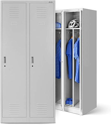 Vestiaire Metallique 2b1a Casier Vestiaire 2 Compartiments Cloison Revetement En Poudre 180 Cm X 80 Cm X 50 Cm Gris Gris Amazon Fr Bricolage