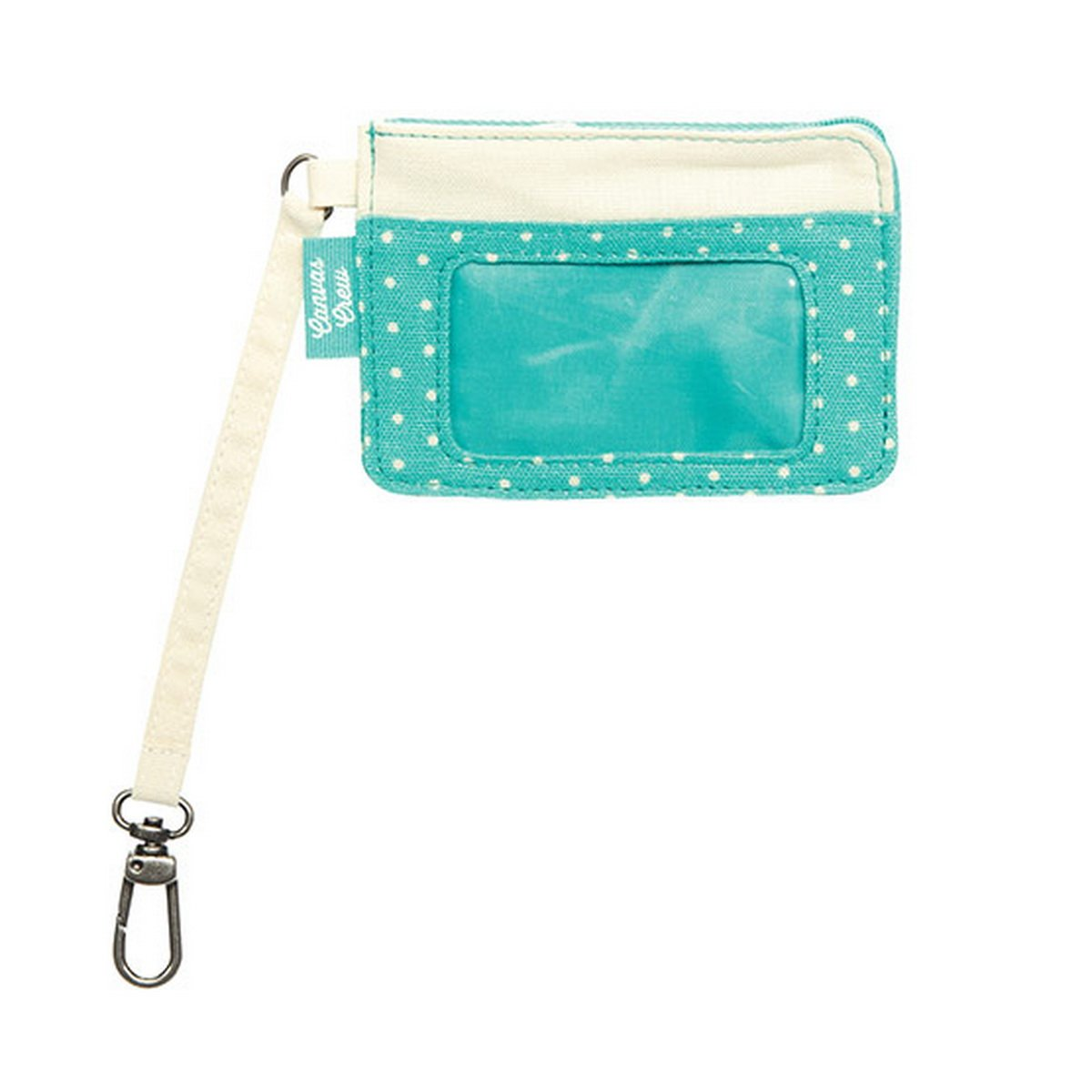 Thirty One Canvas Crew Coin Purse in Natural with Turquoise Swiss Dot 4855
