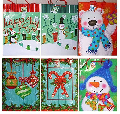 "Extra Large Christmas/Holiday Gift Bags 18"" x 13"" x 4"" (6 Pack)"
