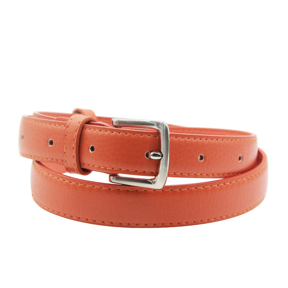 Maikun Womens Skinny Leather Belt Solid Color Pin Buckle Simple Belts belt1199-brown-100