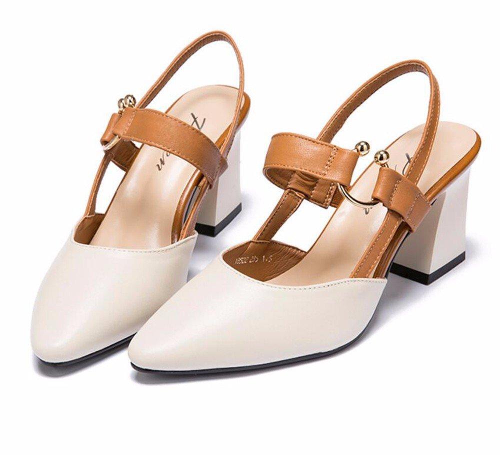 GTVERNH Grob Farbe Hohl Sandalen Im Frühling Und Sommer Spitze Spitze Spitze 7Cm High Heels Damenschuhe Baotou Einzelne Schuhe. aa81b9