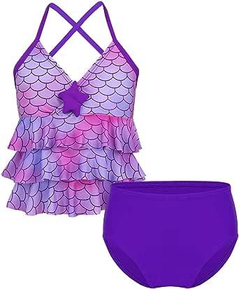 Nimiya Kids Girls' Two Piece Bikini Tankini Mermaid Scales Swimsuit Ruffles Criss Cross Back Top with Briefs Bathing Suits