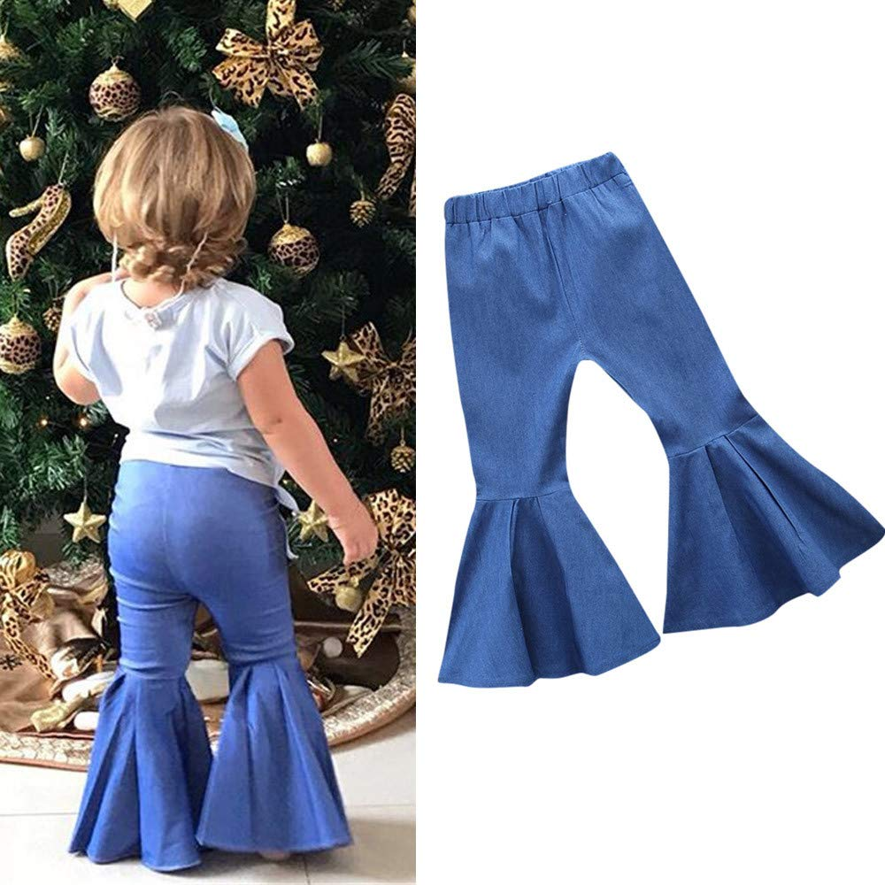 Girls Denim Pants 1-4 Years Old,Baby Toddler Girls Kids Tassel Flared Jeans Long Trousers Casual Sweatpants
