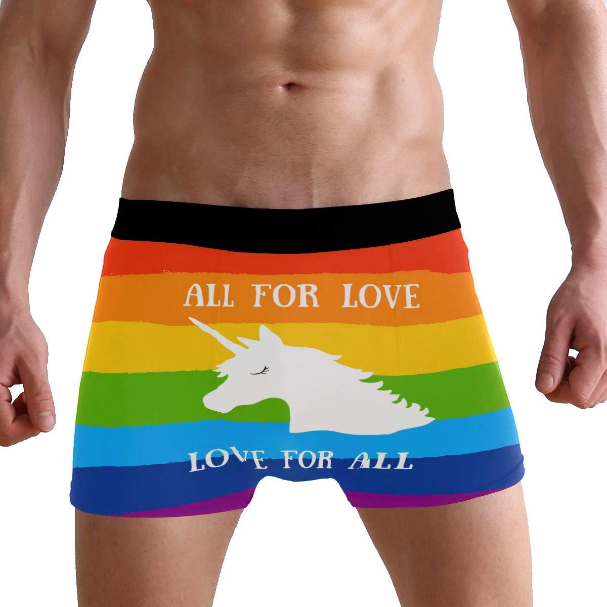 All for Love White Unicorn Mens Underwear Boxer Briefs Breathable Multi