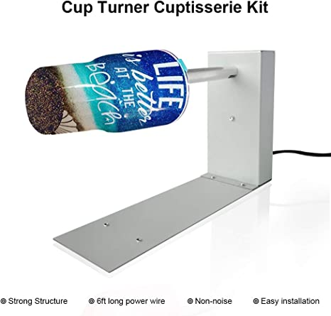 Cuptisserie Epoxy Glitter Tumbler Assembled w// Curing Holder Single Cup Turner