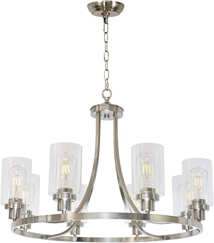 MELUCEE Modern Chandelier Round Brushed Nickel Finish 8 Lights, Dining Room Lighting Fixtures Hanging Industrial Pendant Lighting for Kitchen Island Foyer Restaurant