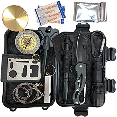 Open Eagle 13 in 1 Emergency Survival Kit - Complete with Pocket Knife, Blanket, Tactical Pen, and Other SOS Tools - Small, Mini and Compact, Perfect for Hiking, Camping, Backpacking, and Outdoors by Open Eagle