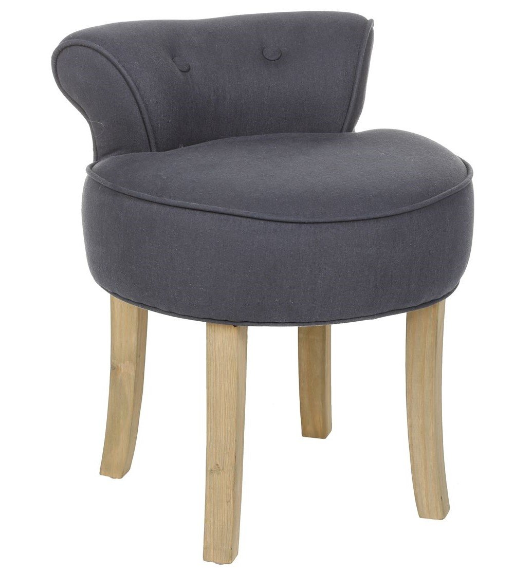 Atmosphera Vanity stool - LINEN and COTTON - Colour GREY BLUE