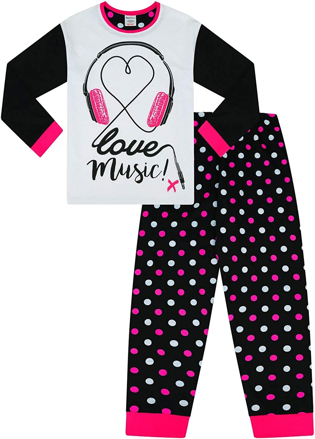 gepunktet M/ädchen Schlafanzug mit Kopfh/örern-Aufdruck Baumwolle