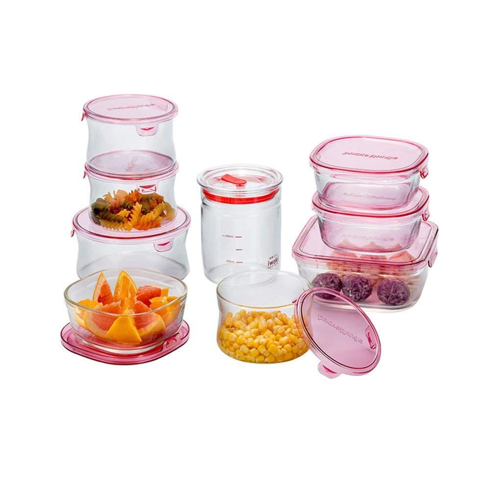 食品鮮明セット耐熱ガラスボウル冷蔵庫収納ボックスフルーツと野菜ボックスガラス食器弁当箱   B07MFDWM1T