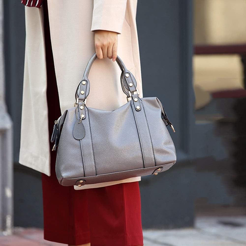 Heqianqian Borsetta Borsa a Tracolla in Pelle con Tracolla Messenger Borsa a Tracolla con Manici Design per Le Donne (Color : Black) Gray