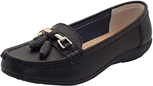 Women Leather Flat Loafer Ladies Casual