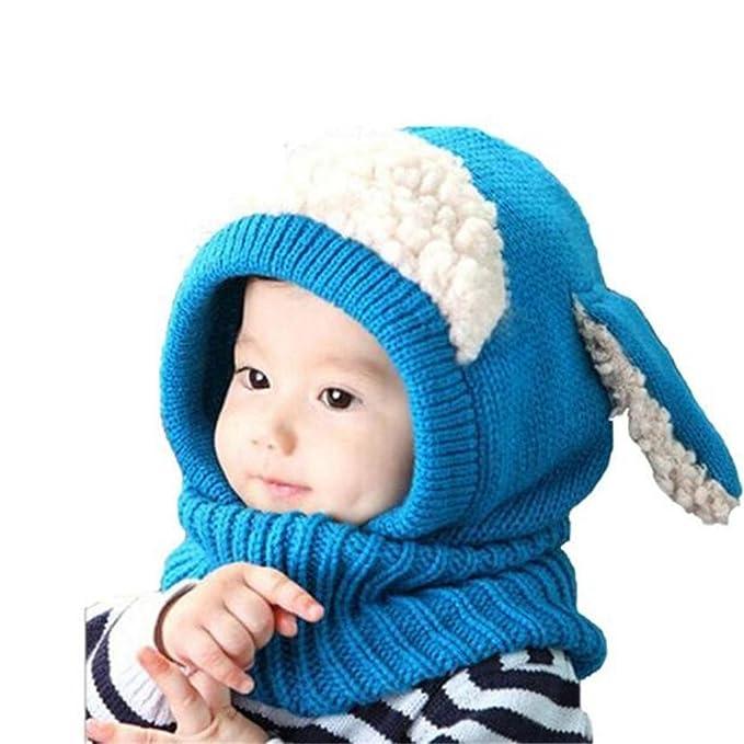 Inverno Bambina Neonato Cappello TRRAD Cuffia di lana Sciarpa Cappuccio  Berretti (Blu) 42b34e3d0f14