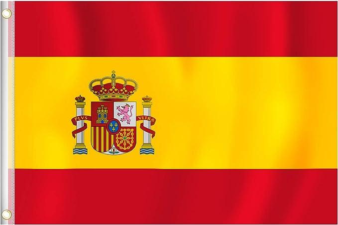 RYMALL 1pcs Bandera España Grande Colores Vivos y Resistentes a Rayos UVA, Bordes Reforzados con Lona y Doble Costura, Poliéster con Ojales de Latón, Resistente a la Intemperie, 90 x 150cm: Amazon.es: