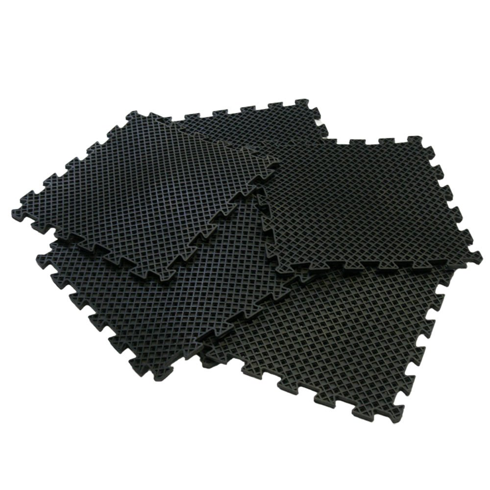 Rubber-Cal ''Eco-Drain'' Interlocking Rubber Tiles - 5/8 x 20 x 20 inch - Pack of 8 Drainage tiles, 22 Square Feet Coverage - Black Rubber Mats