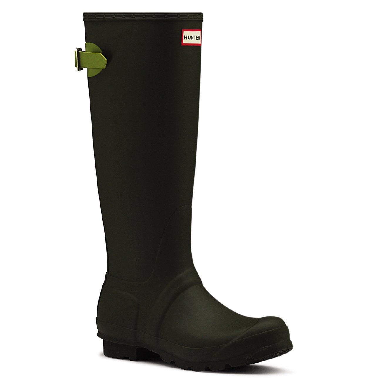 Hunter Womens Adjustable Back Wellingtons Waterproof Rubber Rain Boots - Dark Olive/Kelp - 6