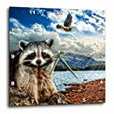 3dRose Raccoon and A Hawk in a Mountain Lake Setting. 5 Photographs Combined. – Wall Clock, 10 by 10-Inch (dpp_173009_1) For Sale
