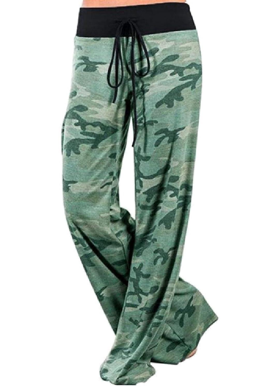 Abetteric Women Camouflage Stretchy Waist Print Hip Hop Wide Leg Pants