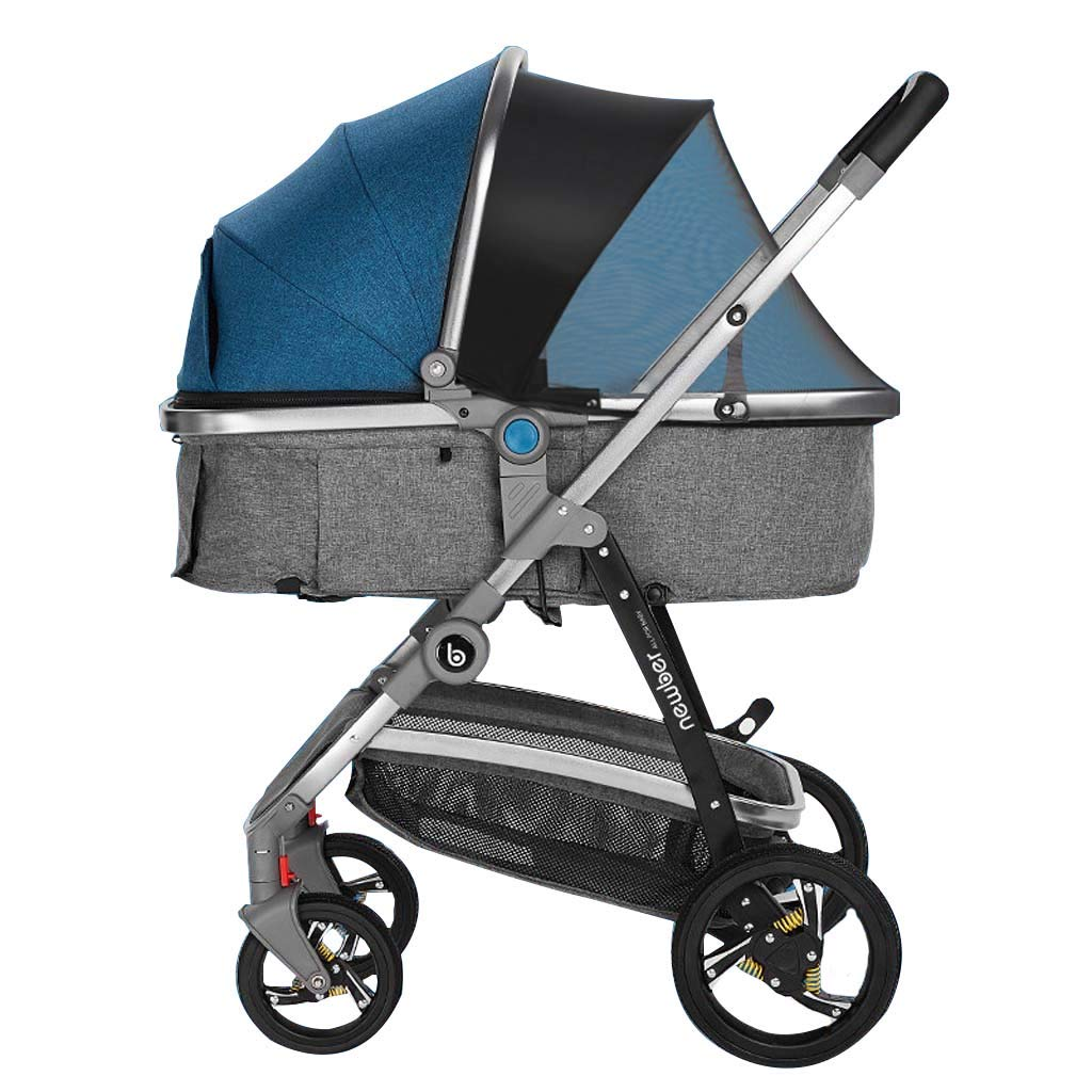 New Baby Stroller Can Sit and Lay Children Light Folding High Landscape Newborn Baby Child Stroller Widened Sleep Blue