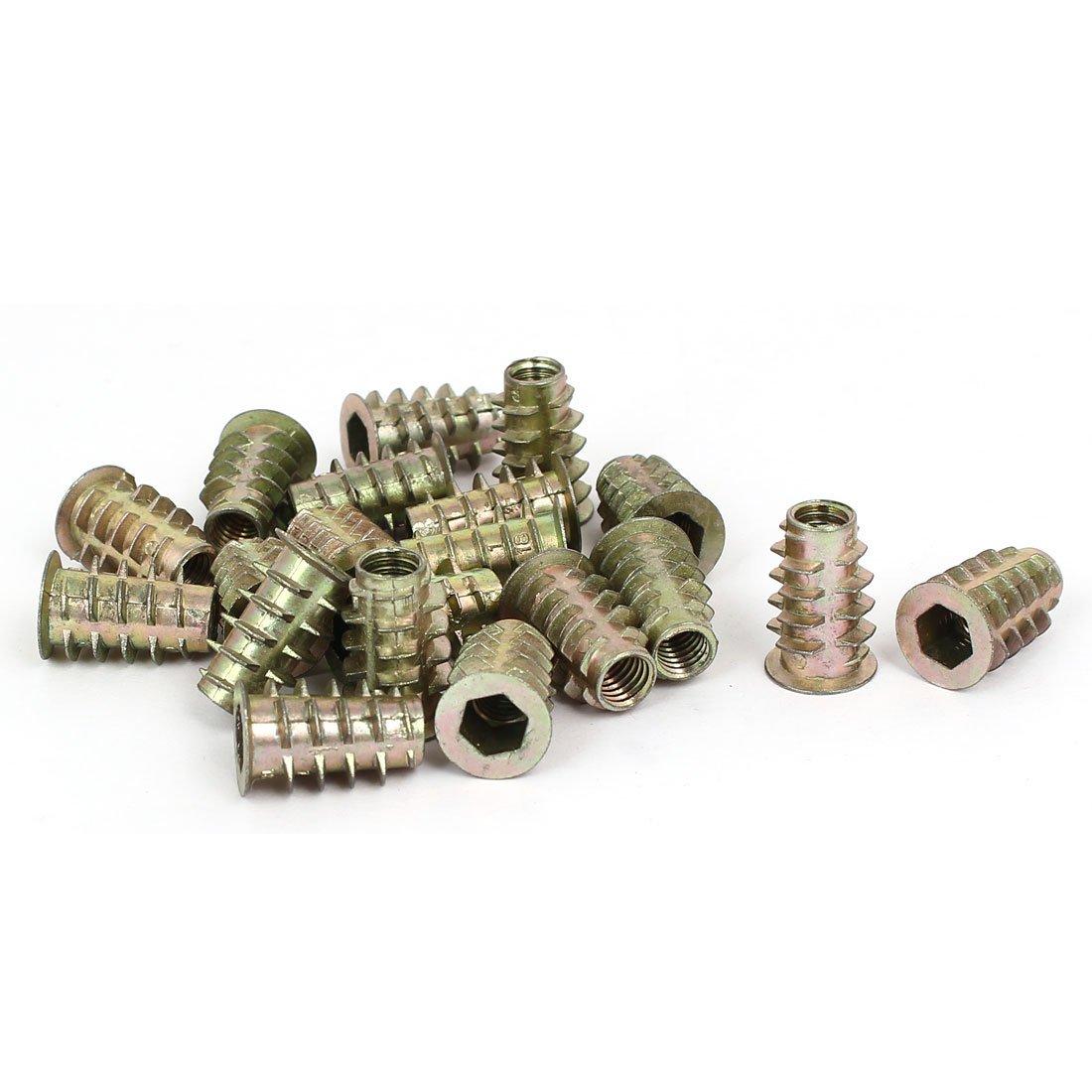 uxcellM6 x 18mm Hex Socket Head Insert Screws E-Nuts Furniture Fittings 20pcs