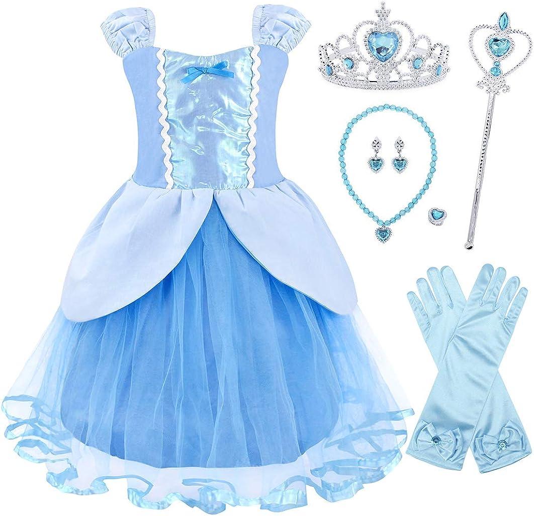 AmzBarley Vestito da Principessa per Bambina Costume Festa Cosplay Abiti Ragazza Compleanno Carnevale Vacanza Halloween Vestiti Abito con Capo