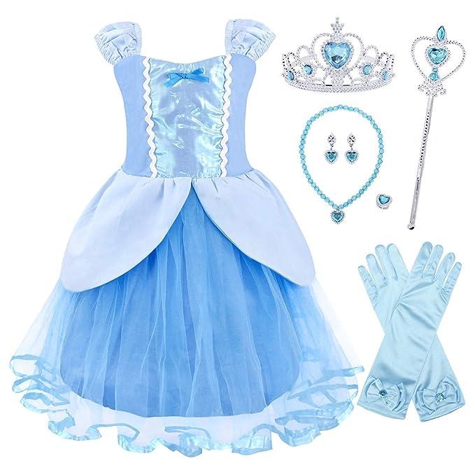 2e678ca958a4 AmzBarley Principessa Cinderella Vestire Costume per Bambini Ragazze  Halloween Cosplay Festa  Amazon.it  Abbigliamento