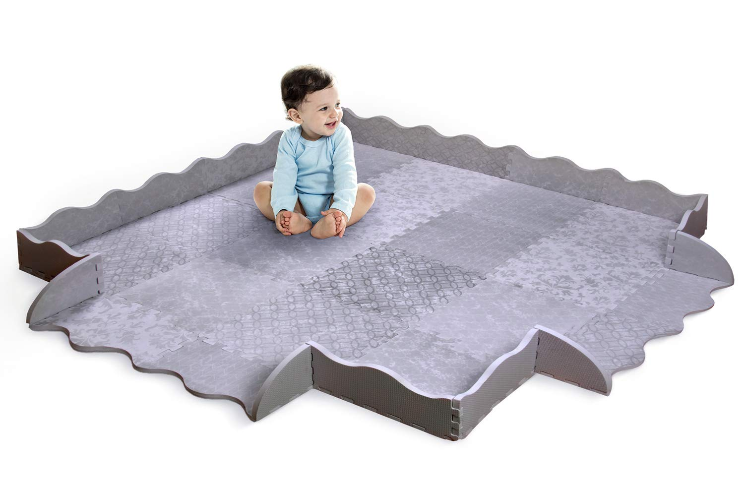 Designer Baby Play Mat with Fence - Thick Playmat Baby Mat with Non-Toxic Safety Soft Foam - Baby Floor Mats Tiles Gym for Infants, Babies, Crawling, Toddlers, Playing Kids Nursery Rug Emma + Ollie